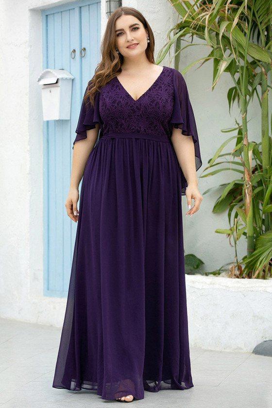 Dark Purple Vneck Plus Size Evening Dress With Lace
