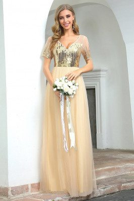 Gold Aline Long Tulle...