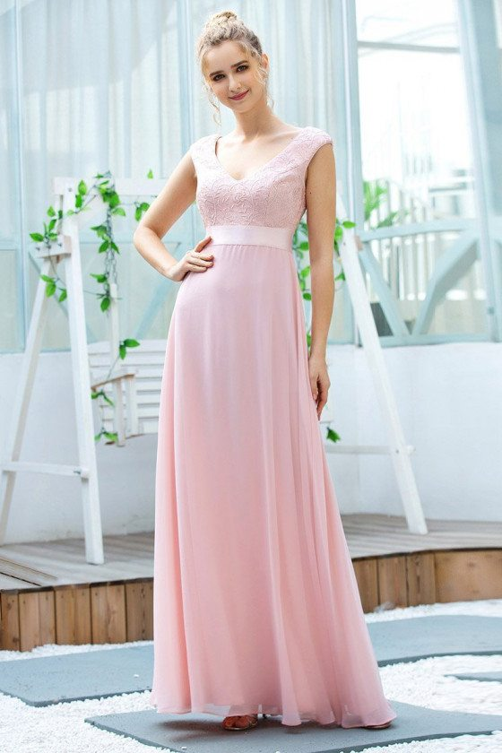 Pink Aline Chiffon Long Bridesmaid Dress With Sash