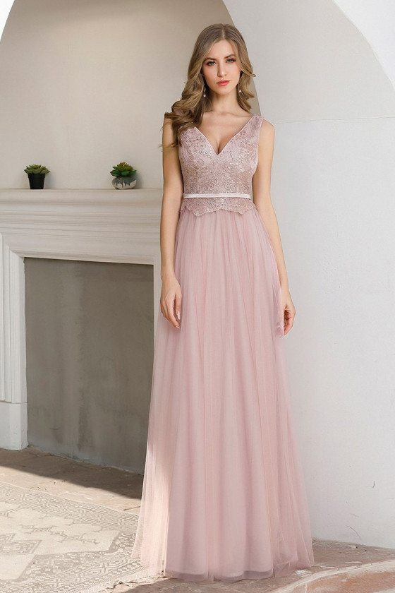 Pink Embroidered Vneck Tulle Bridesmaid Dress Sleeveless