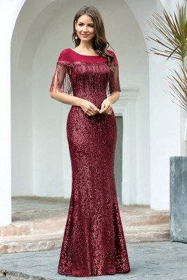 Elegant Burgundy Sequined...