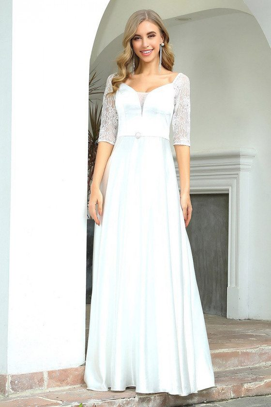 White Aline Simple Wedding Dress