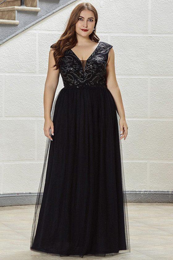 Plus Size Aline Deep Vneck Tulle Evening Dress With Sequins