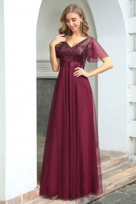 Fashion Aline Long Burgundy...