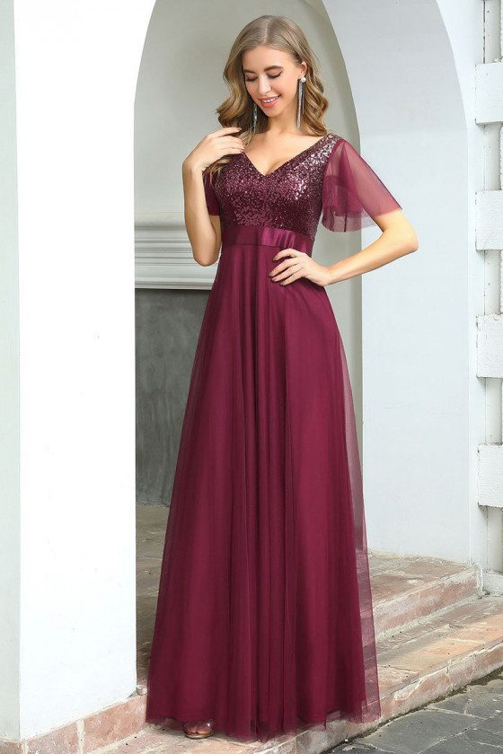 Fashion Aline Long Burgundy Wedding Party Dress With Sequins Bodice