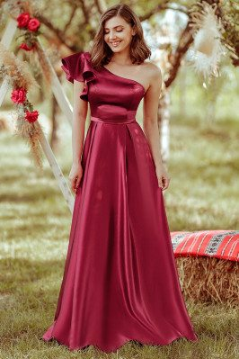Burgundy Aline One Ruffle...