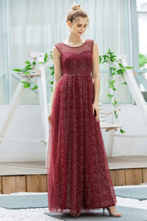 Burgundy Cute Glitter Party Prom Dress With Illusion Neckline
