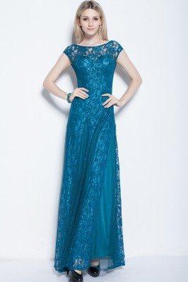 Lace Cap Sleeve Long Party Dress