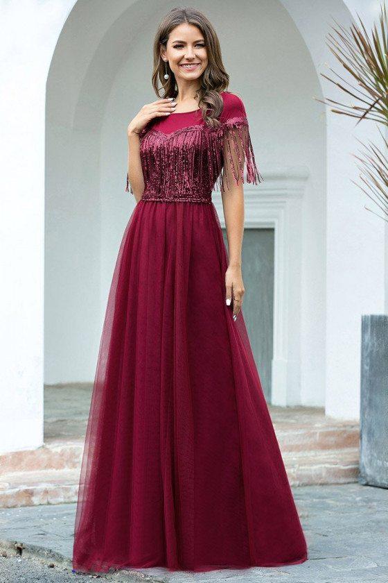 Elegant Burgundy Aline Evening Dress With Sequin Tassels