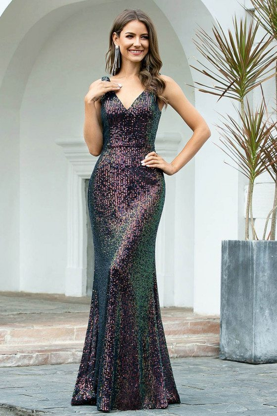 Ombre Sequins Slim Mermaid Evening Dress With Double Vneck
