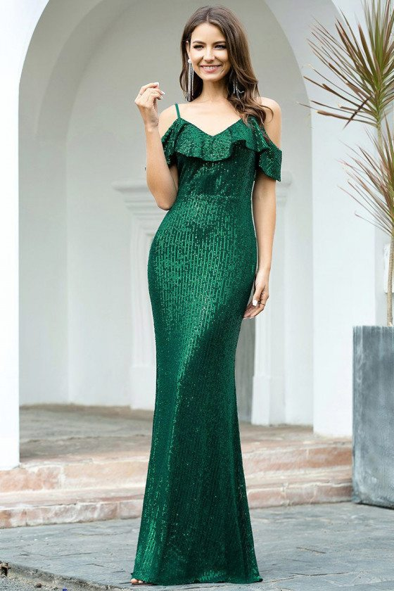 Formal Long Green Sequins Evening Dress With Ruffles
