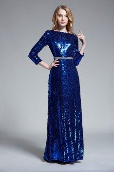 Sequin Open Back Formal Gown With Sleeves