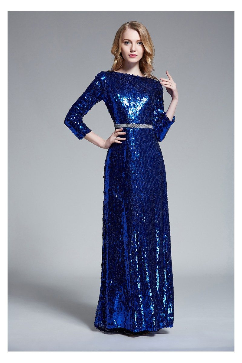Sequin Open Back Formal Gown With Sleeves - $107 #CK465 - SheProm.com