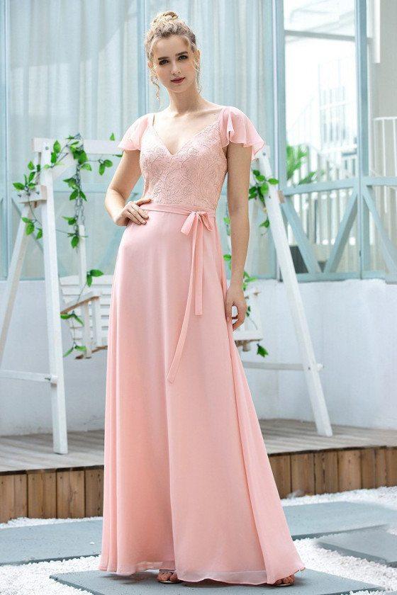 Pink Chiffon Long Bridesmaid Dress With Cap Sleeves Sash