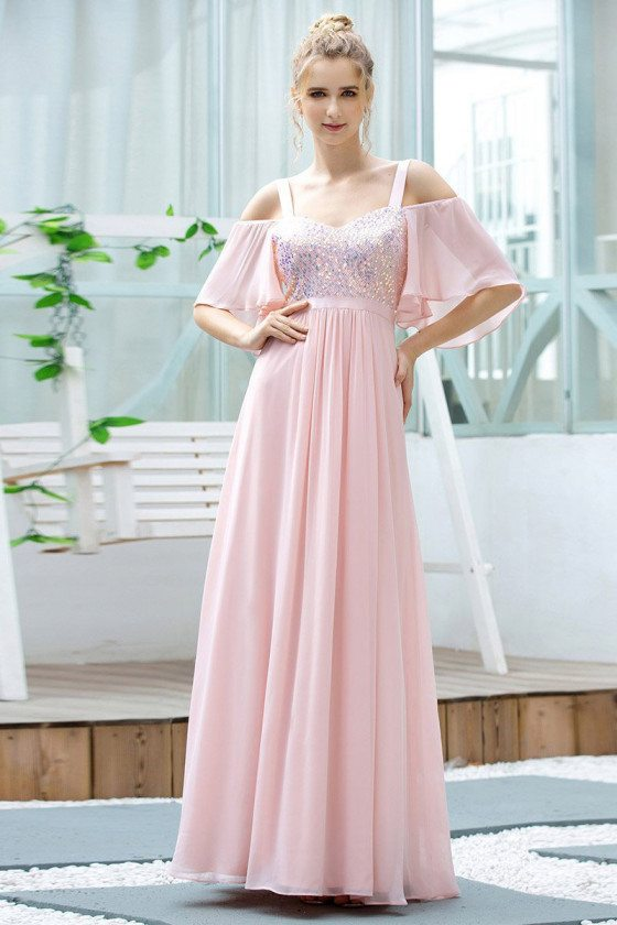 Cute Pink Aline Chiffon Bridesmaid Dress With Ruffle Sleeves Sequins
