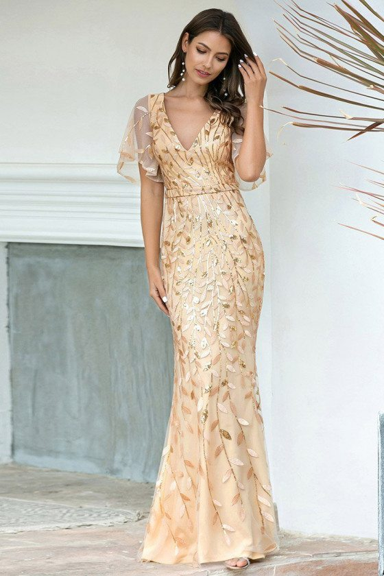 Gorgeous Vneck Leaf Sequined Gold Formal Dress With Puffy Sleeves
