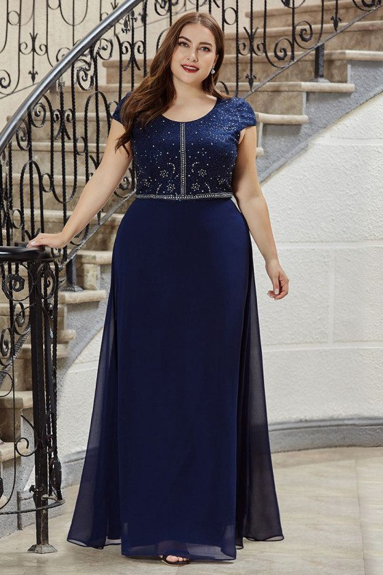 Plus Size Navy Blue Prom Dress Modest With Cap Sleeves