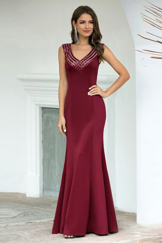 Striped Vneck Mermaid Evening Dress Burgundy Sleeveless