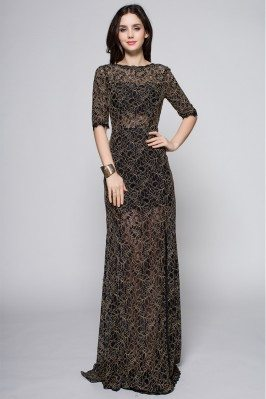 Black See-through Half Sleeve Long Prom Dress