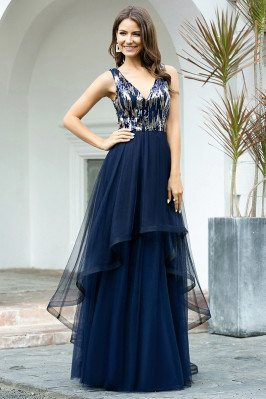 Navy Blue Tiered Tulle...