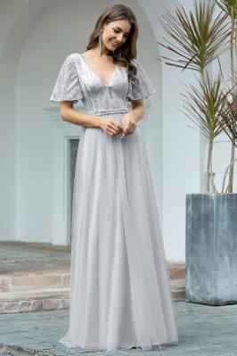 Grey Tulle Vneck Elegant...
