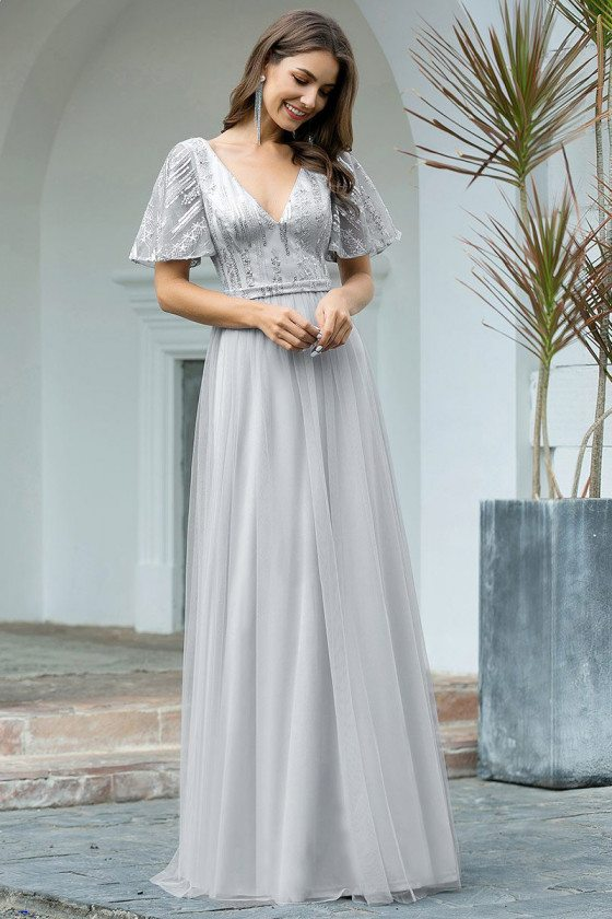 Grey Tulle Vneck Elegant Formal Dress With Puffy Sleeves