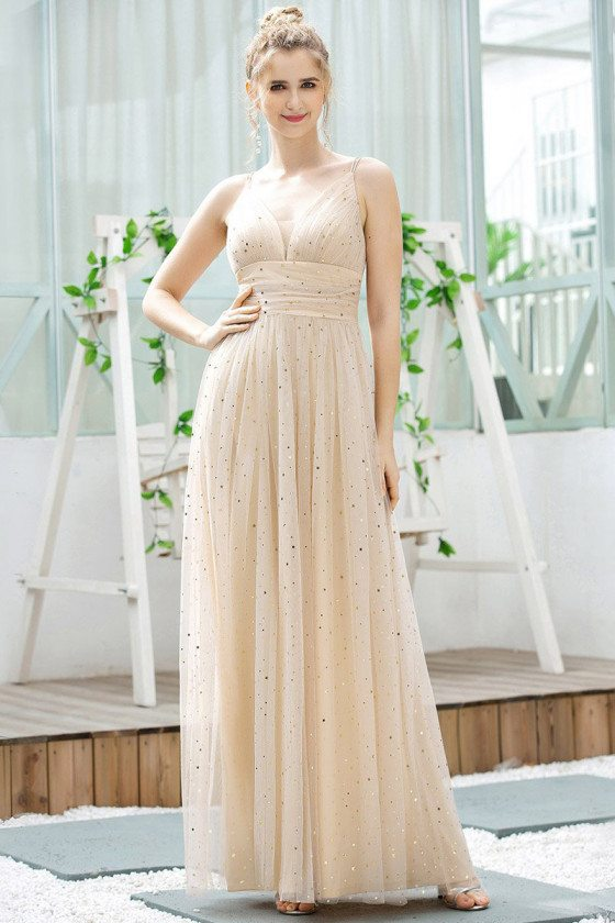Cute Vneck Blush Aline Long Party Dress With Dots