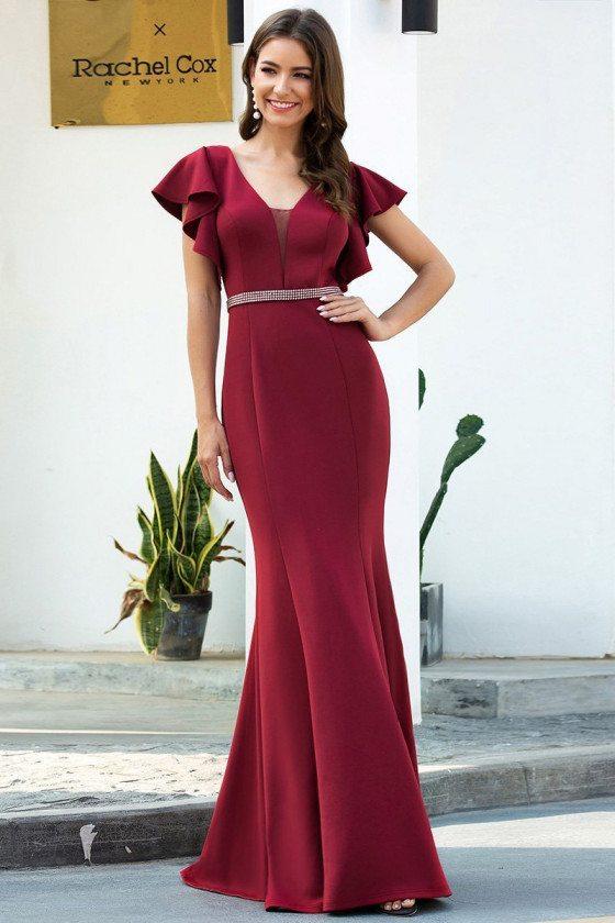 Elegant Burgundy Mermaid Evening Dress With Flutter Sleeves