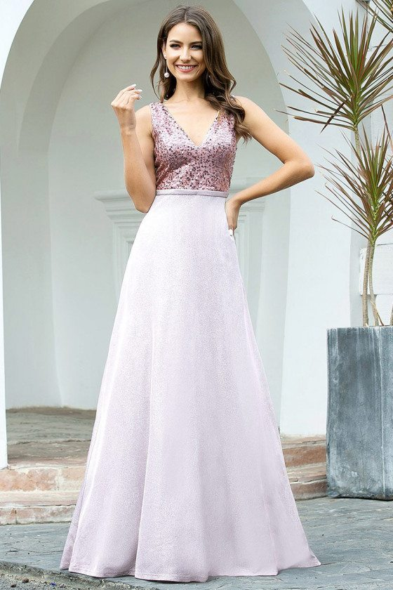 Double Vneck Purple Aline Prom Dress With Sequins