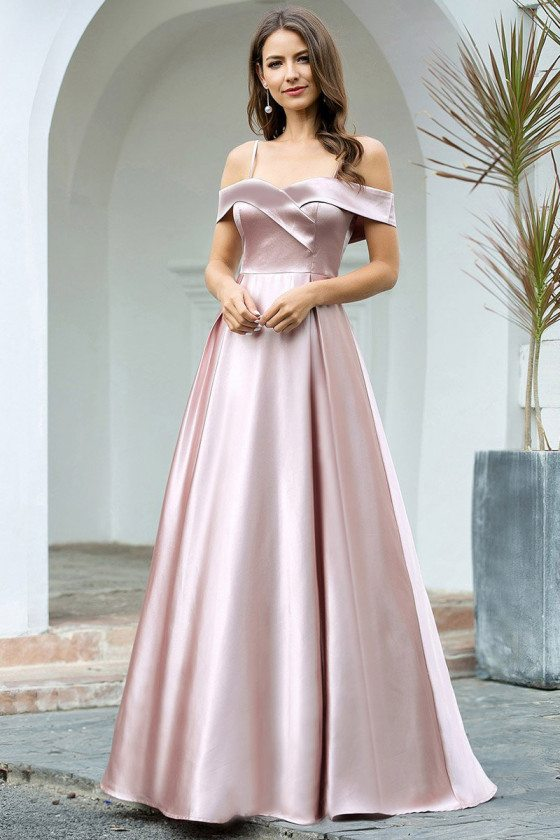 Elegant Aline Mauve Long Bridesmaid Dress With Straps