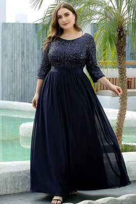 Navy Blue Sequins Modest...
