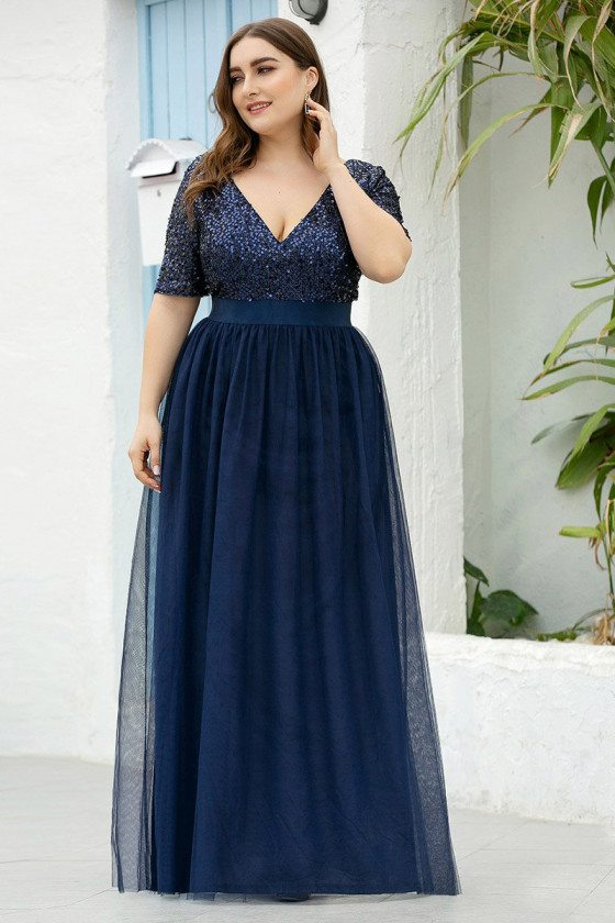 Plus Size Vneck Navy Blue Sequins Evening Dress With Short Sleeves