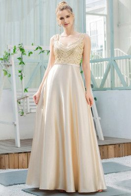 Gold Sequins Aline Satin...