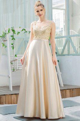 Gold Sequins Aline Satin...