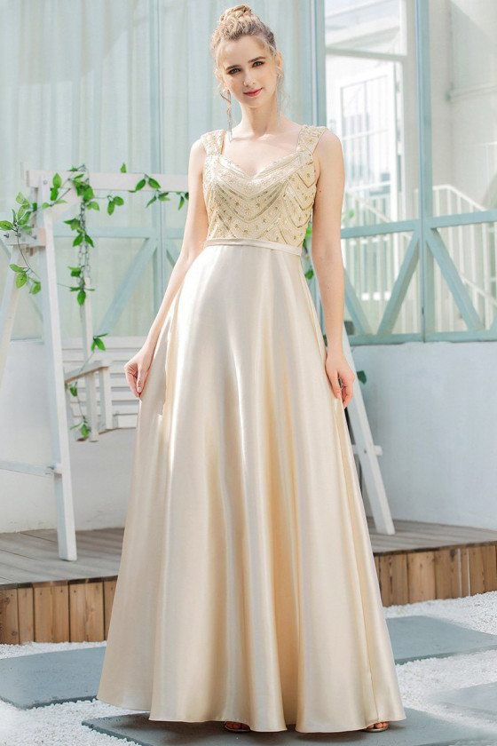 Gold Sequins Aline Satin Prom Dress With Beaded Straps