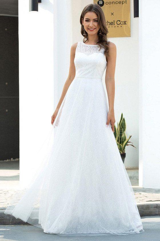 Simple O Neck Casual Wedding Dress Aline Sleeveless