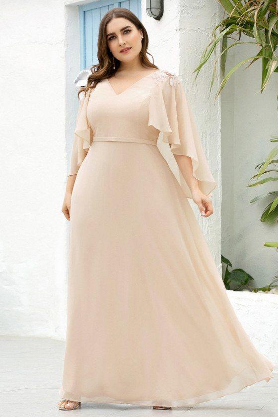 Blush Plus Size Floor Length Bridesmaid Dress With Wraps