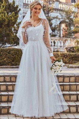 Elegant Aline Tulle Wedding...