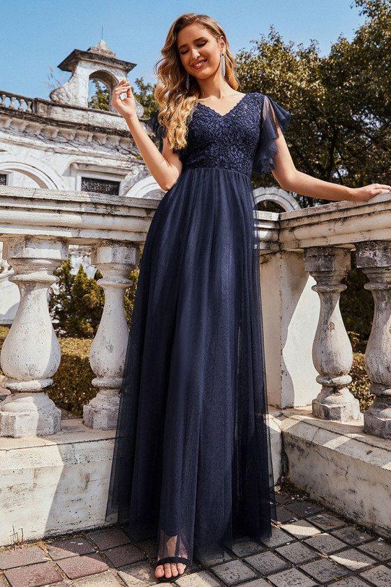 Navy Blue Tulip Sleeves Empire Evening Dress for Women