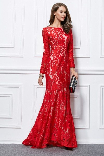 Sweep Train Long Lace Sleeve Mermaid Evening Dress