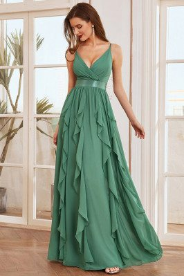 Green Deep V-neck with...