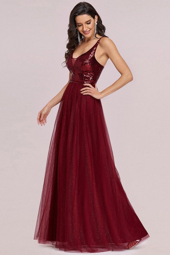 Burgundy Sequins Tulle Prom Dress Vneck with Sequin Bodice