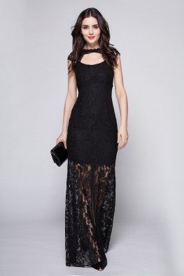Black Lace See-through Long Prom Dress