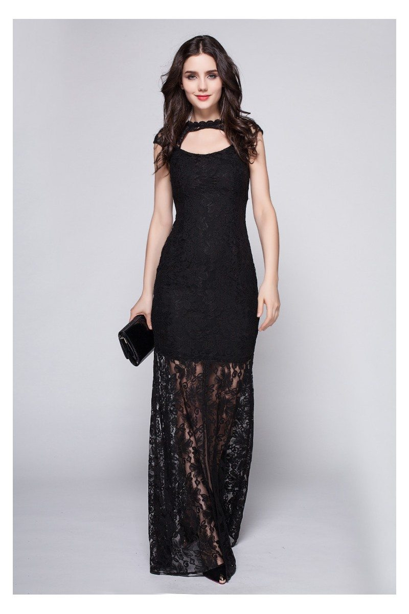 Black Lace See-through Long Prom Dress - $89 #CK357 - SheProm.com
