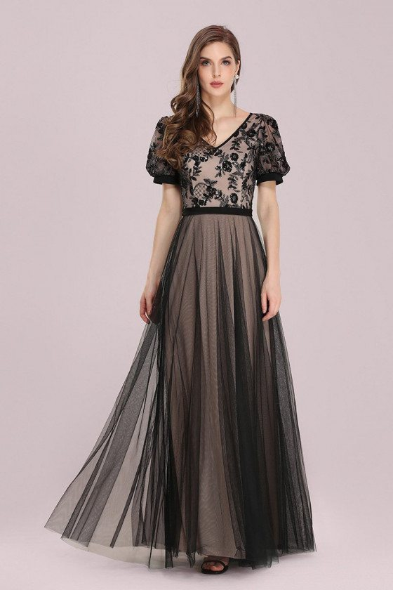 Modest Black Tulle Vneck Evening Dress with Bubble Sleeves