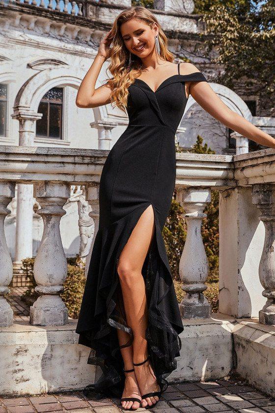 Black Off Shoulder High-Low Party Dress with Slit