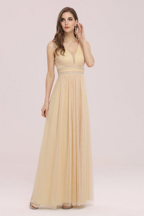 Gold Sleeveless Tulle Bridesmaid Dress with Beaded Belt