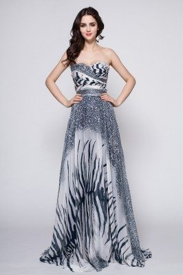 Animal Print Sweetheart Long Prom Dress