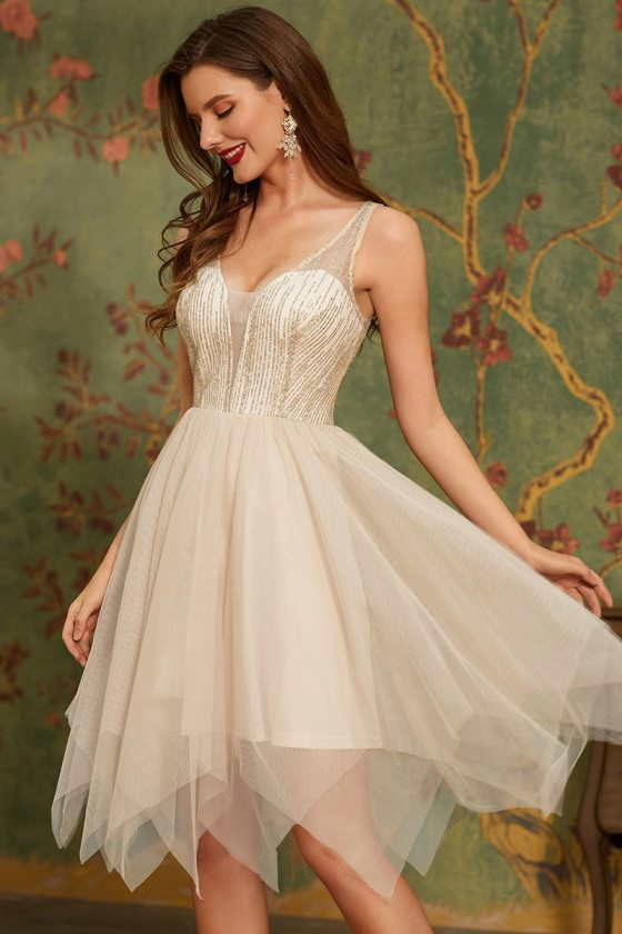 Cute Gold Deep V Neck Tulle Cheap Homecoming Prom Dress