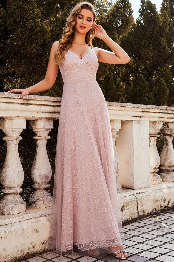 Sweet High Waist Pink Lace Prom Dress with Straps